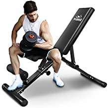 FLYBIRD Adjustable Bench,Utility Weight Bench for Full Body Workout- Multi-Purpose Foldable Incline/Decline Bench (Renewed)