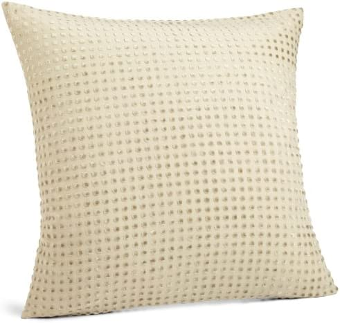 Calvin Klein Home Velvet Dot 18-Inch by 18-Inch Pillow, Twine