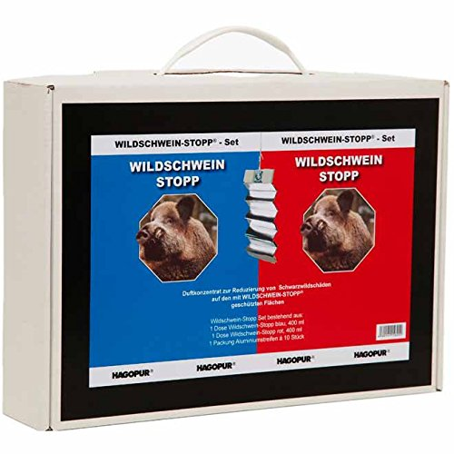 Set Stopp repelente para jabalíes - Stopp rojo + Stopp azul + 10 láminas de aluminio ahuyentadoras de jabalíes Hagopur