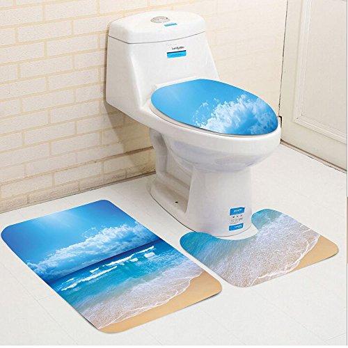 Keshia Dwete three-piece toilet seat pad customBeach Seascape Theme Landscape of the Beach and the Cloudy Sky in Summer Digital Print Sand Brown (Mason Outdoor Area Rug)