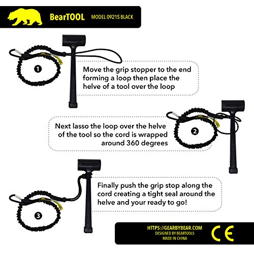 BearTOOL Tool Lanyard with Single Carabiner and Adjustable Loop End, Standard Length, Maximum Weight Limit 8KG / 17.6lb, Aluminum Screw Lock Carabiner with Shock Cord Stopper, 3 Pack (Black 0923S) by BearTOOL (Image #2)