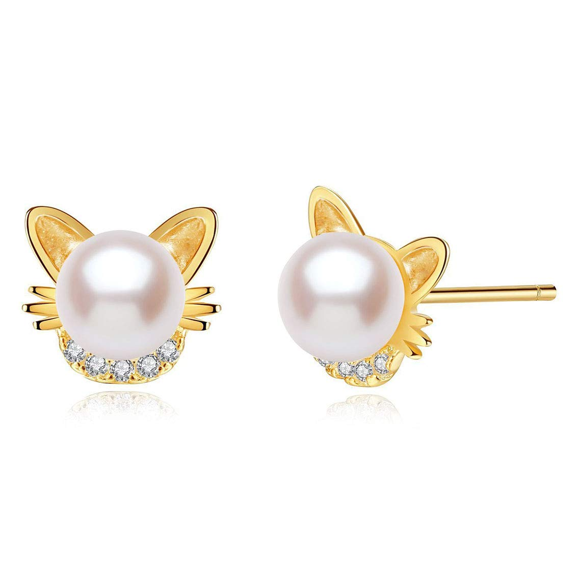 XinHuiGY Girls Earrings Cute cat Pearl Earring,14k Gold with Shiny Zircon Ear Studs Jewelry for Women Girl with Gift Box Gift for Birthday Halloween Christmas Thanksgiving cat Lover by XinHuiGY