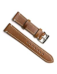 Green Olive 22mm Handmade Vintage Cowhide Leather Watch Strap/Watch Band (White Stitch/Brown)