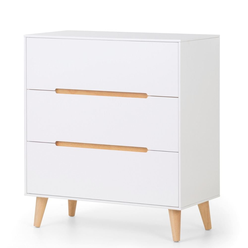 Happy Beds Alicia White and Oak 3 Drawer Wooden Bedroom Storage Chest