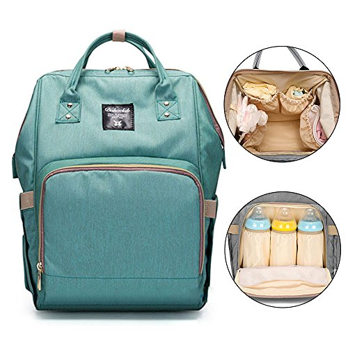 Price comparison product image Bonamana Multi-Function Large Capacity Waterproof Baby Diaper Backpack Bag Nappy Tote Bag Travel Backpack Nappy Bags (Light Green)