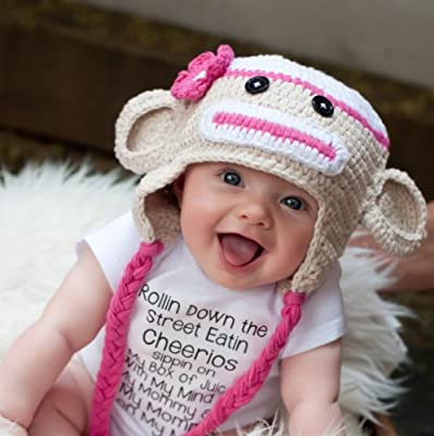 60a0a398a16 Amazon.com   Crochet Baby sock monkey Hat in Beige and pink color 3-12  months - made with NEW Milk protein cotton yarn - ready to ship   Other  Products ...