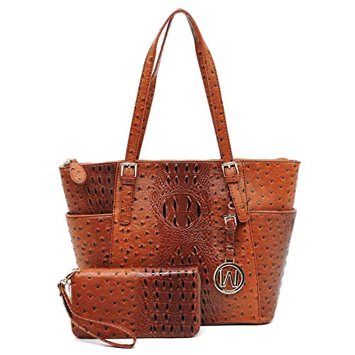 Vegan Faux Leather 2 PC Set Ostrich Croco Embossed Tote Shoulder Bag shopper with Matching Wallet - Shopper Tan