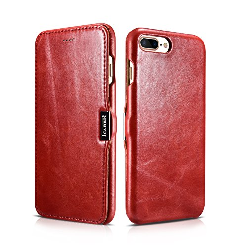 """iPhone 7 Plus Coque, iPhone 8 Plus Couque, Icarer ultra mince Housse Cuir véritable Étui avec forte magnétique Coque pour Apple iPhone 7 Plus/ 8 Plus 5.5"""" (rouge)"""