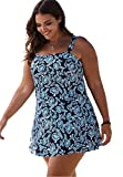 Woman Within Women's Plus Size Princess Seam Swimdress Navy Seafoam Leaf,26