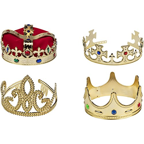 Gold Crown - 4-Pack Royal King and Queen Jeweled Costume Accessories, Party Hat
