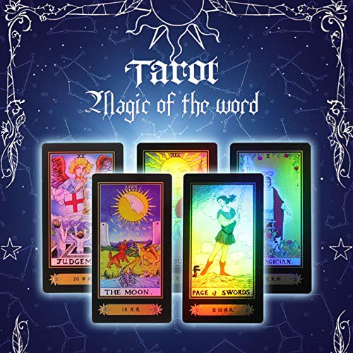 Zerodis Tarot Cards for Beginner Deck Vintage 78 Tarjetas Rider Waite Future Telling Game en Colorful Box Juego de Mesa (Black)