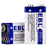 EBL 1200mAh 9V Batteries Lithium Battery Non Rechargeable 2 Pack