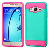 Asmyna Cell Phone Case for Samsung On5 - Teal Green/Hot Pink Brushed