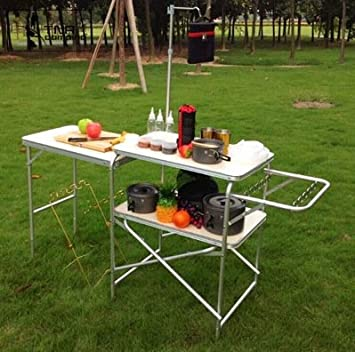 qisiewell aluminio camping mesa plegable mesa 150 * 40 * 169 cm ...