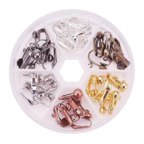 36 Pcs Clip On Earring Converter,6 Colors Brass Stud to Clip,with Easy Open Loop,Jewelry Making Clip On Earrings,Earring Hooks Jewelry Making.for Non-Pierced Ears. (6 Colors)