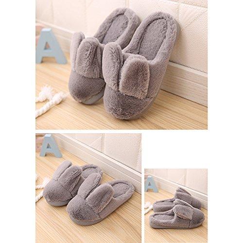 Fuyingda Hiver Gris Fourrure Chaud Pantoufles Coton Chaussons Peluche Confortable Femmes Chaussures x7Oq1Cxgw