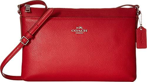 COACH Women's Polished Pebble Journal Crossbody True Red One Size (Coach Small Handbags Crossbody)