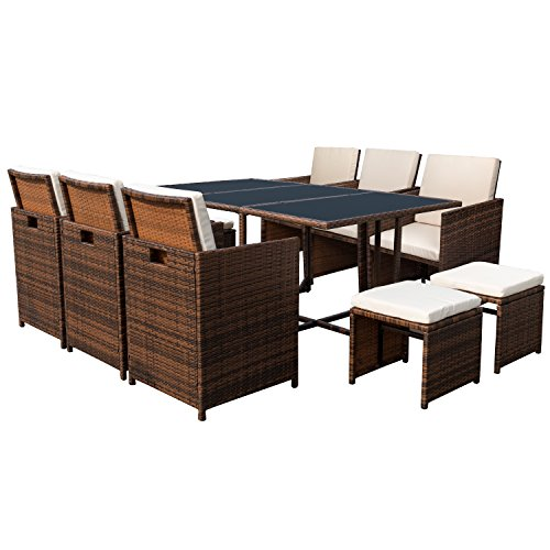 Devoko 11 Pieces Patio Dining Sets Outdoor Space Saving Rattan Chairs Patio Furniture Sets with Ottoman and Cushions (Brown)