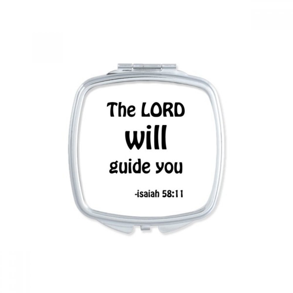 DIYthinker The LORD Will Guide You Christian Square Compact Makeup Mirror Portable Cute Hand Pocket Mirrors Gift