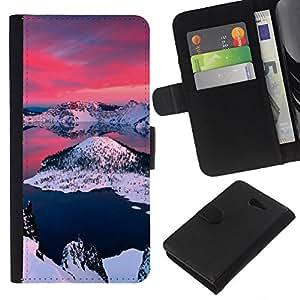 """A-type (Alaska Aurora Borealis"""") Colorida Impresión Funda Cuero Monedero Caja Bolsa Cubierta Caja Piel Card Slots Para Sony Xperia M2"""