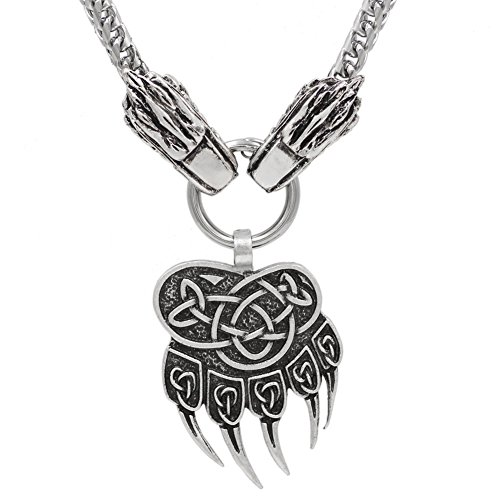 Bear Pendant Head (xicoh Viking Wolf Head With Bear Paw Wolf Pendant NECKLACE - Stainless Steel Chain)