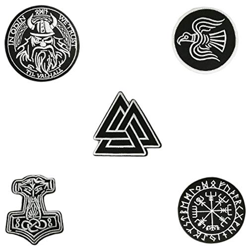 5pcs Set Vikings Iron On Patches Embroidered Norse Rune Badge in Odin WE Trust Emblem ()