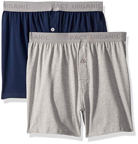 - Pact Men's Organic Cotton Knit Boxers Underwear (2 Pack), Large, Heather Grey/Navy