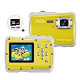 KIVIS HD Underwater Kids Camera, 9.8ft Waterproof Digital Children Action Camera Video Camcorder with 8x Digital Zoom, Flash Light and Mic, Best BD Gift for your Boys Daughters(Yellow with 8G SD Card)