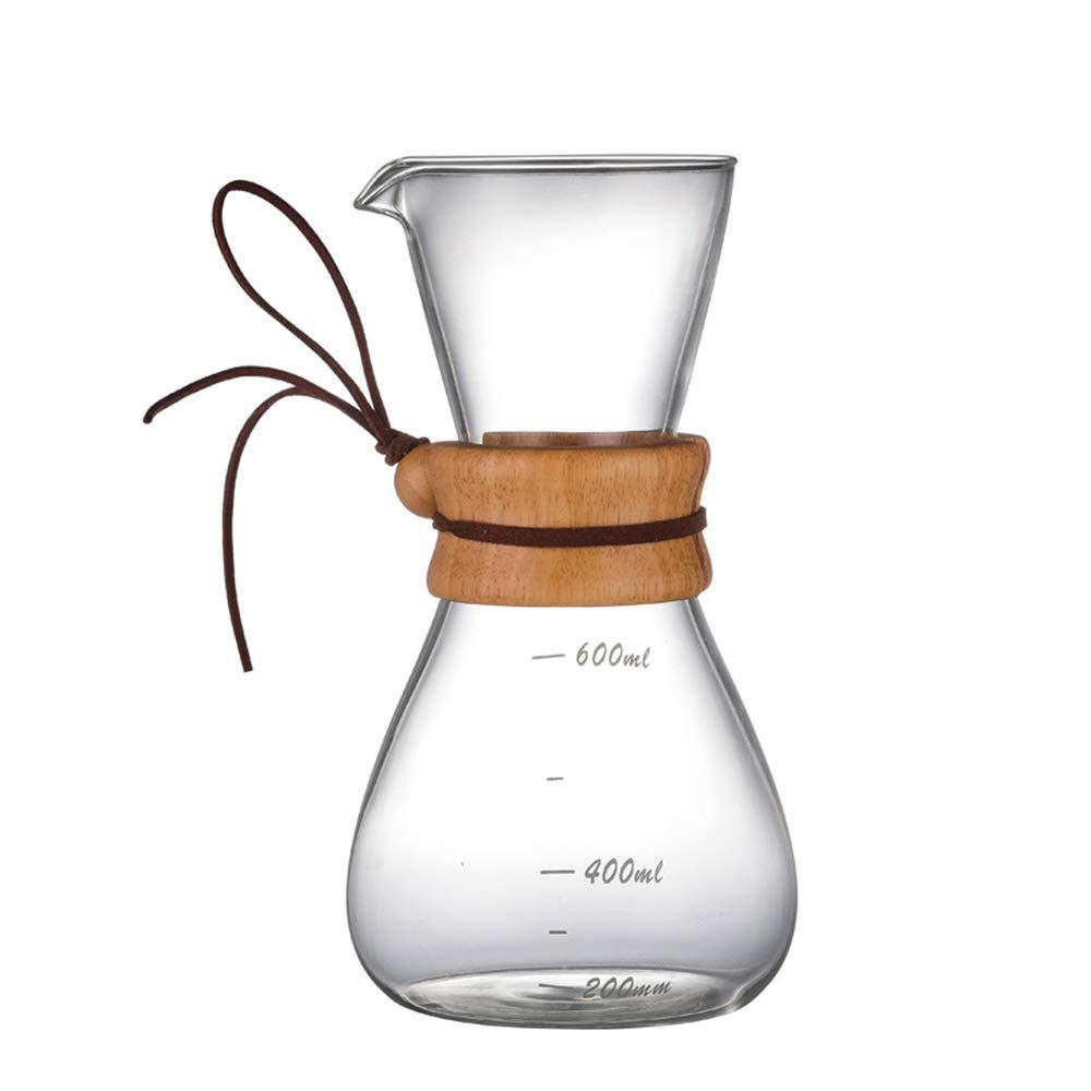 Godyluck Vierta sobre una Jarra de caf/é Transparente 600 ml Cafetera Borosilicato Corcho Mango Mango Marcas de medici/ón Seguro Servidor de caf/é Duradero no t/óxico