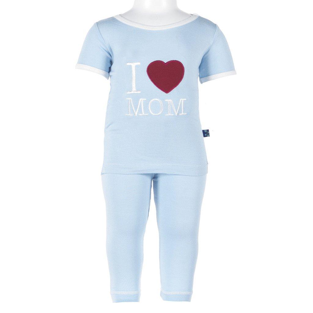 Kickee Pants Boys' Holiday Short Sleeve Applique Pajama Set Prd-kpsapj56-Pilmy, Pond I Love Mom, 5Y