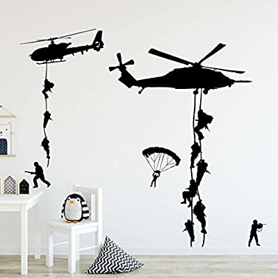 Custom Vinyl Decor Army Wall Decals, Soldiers Parachuting From Helicopters Personalized for Kids Playroom, Children, Military Families