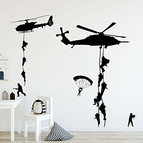 Cheap  Custom Vinyl Decor Army Wall Decals, Soldiers Parachuting From Helicopters Personalized for..