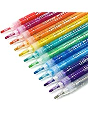 TWOHANDS Glitter Markers,Drawing Pens,Water-Based,12 Assorted Colors,Great for Paper,Posters,Greeting and Gift Cards 20017