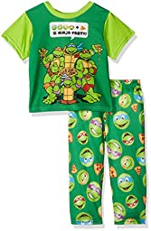 Nickelodeon Boys\' Ninja Emoji 2-Piece Pj Set, Turtle Green, 24M