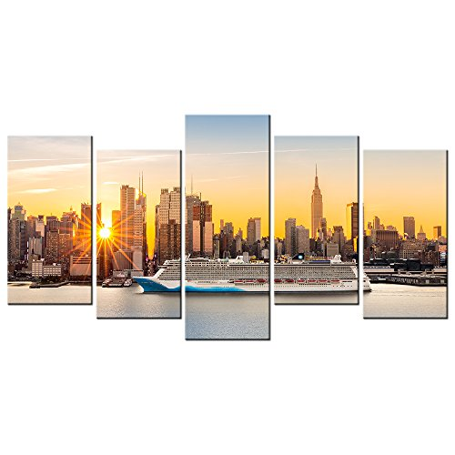 Cruise Art Deco Print (VVOVV Wall Decor - Empire State Building Wall Art Canvas Prints New York City NYC Skyline Skyscraper At Sunset Picture Framed Cityscape Luxury Cruise with Hudson River Landscape Painting (Large))
