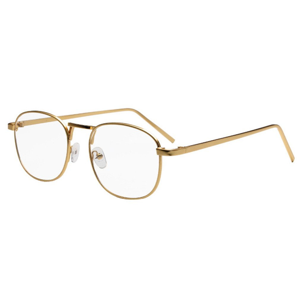 Simvey Unisex Classic Retro Vintage Small Square Clear Lens Eyeglasses Gold Metal Glasses Frame