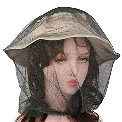 Flammi Mosquito Head Net Mesh Face Neck Protection from Insects Bugs Flies Gnats (Army Green)
