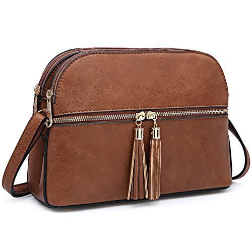 - Functional Multi Pockets Lightweight Medium Crossbody Bags Purses for Women Double Zipper Shoulder Messenger Bag with Tassel (Brown)