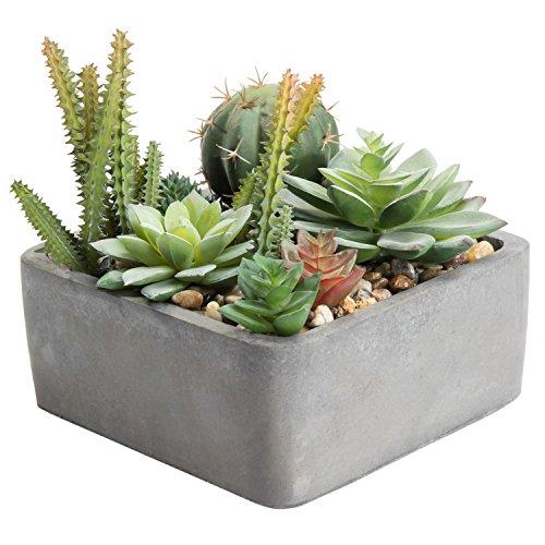 MyGift Faux Succulent Plant Arrangement in Square Cement-Tone Planter (Assortment 2)