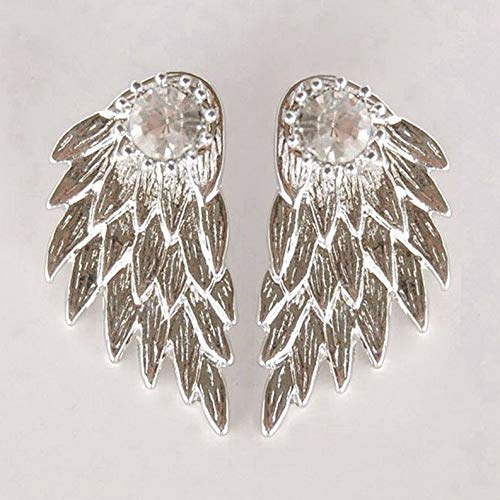 - Endicot Womens Silver Gold Angel Feather Wing Earring Rhinestone Hook Ear Stud Hoop Gift | Model ERRNGS - 16977 |