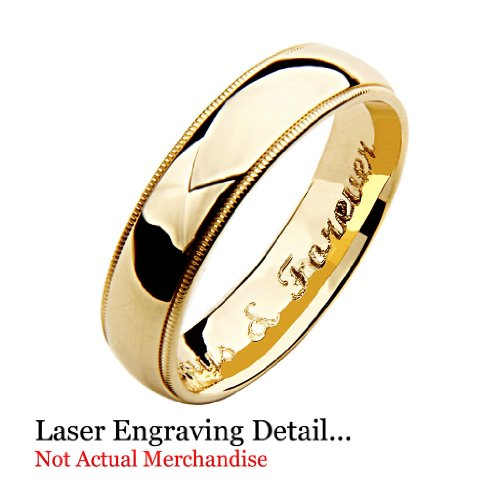LASER ENGRAVING SERVICE 14k Yellow OR White Gold 3mm SOLID COMFORT FIT Plain Wedding Band