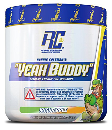 YEAH BUDDY PRE WORKOUT - Extreme Non Crash Sustained Energy Preworkout & Nitric Oxide Supplement with Extended Release Caffeine, TeaCrine and Agmass, Irish Apple, 30 Serving