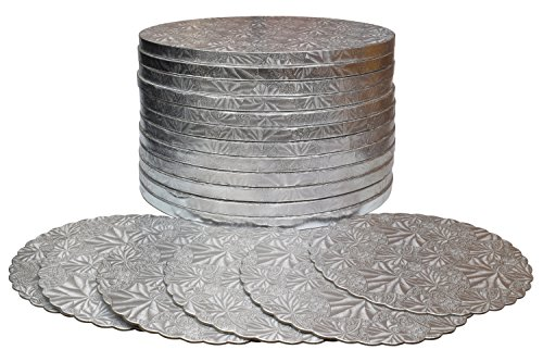 TROLIR 12 inch Round Cake Drums, 12 Pack, Smooth Edge, Sturdy and Greaseproof Boards of 1/2 inch Thick Corrugated Paper, Coated with Embossed Foil of Silver Grape Leaf, Bonus - 6 Scalloped-Edge Pads