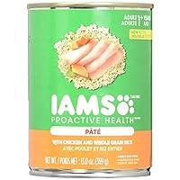 Comida para perros proactiva Iams, cena sabrosa molida con paté clásico con pollo y arroz, latas de 13 onzas (paquete de 12)