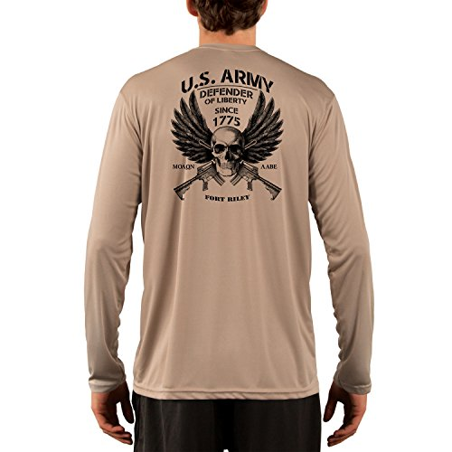 Fort Riley Army Base (Dead Or Alive Clothing U.S. Army Fort Riley Men's UPF 50+ Long Sleeve T-Shirt X-Small Tan)