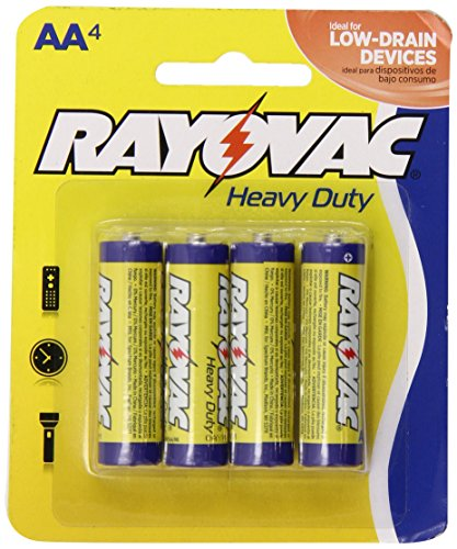 Rayovac Heavy Duty AA Batteries, 5AA-4D, 4-Pack