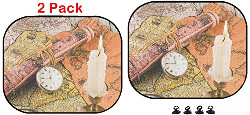 Antiquarian Map - Luxlady Car Sun Shade Protector Block Damaging UV Rays Sunlight Heat for All Vehicles, 2 Pack Image ID: 26865632 Antiquarian Pocket Watch and Ancient World maps
