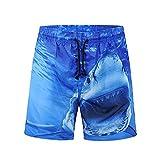 Mens Swim Trunks Fxbar, Short Big and Tall 3D Shark Printed Trousers Short Beach Shorts
