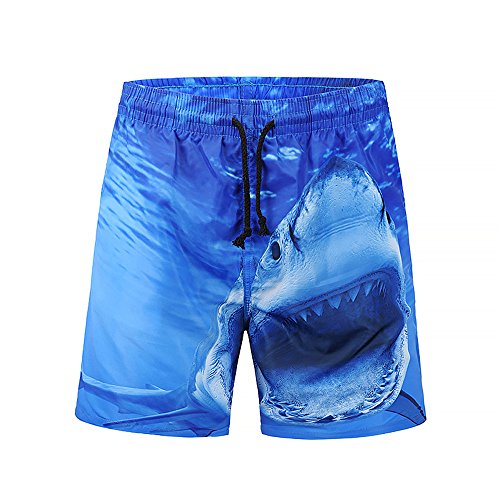 Mens Plus Size Trouser,3D Shark Graphic,Summer Swim Trunks Quick Dry Surfing Beach Shorts Pants By Mlide(XX-Large) ()
