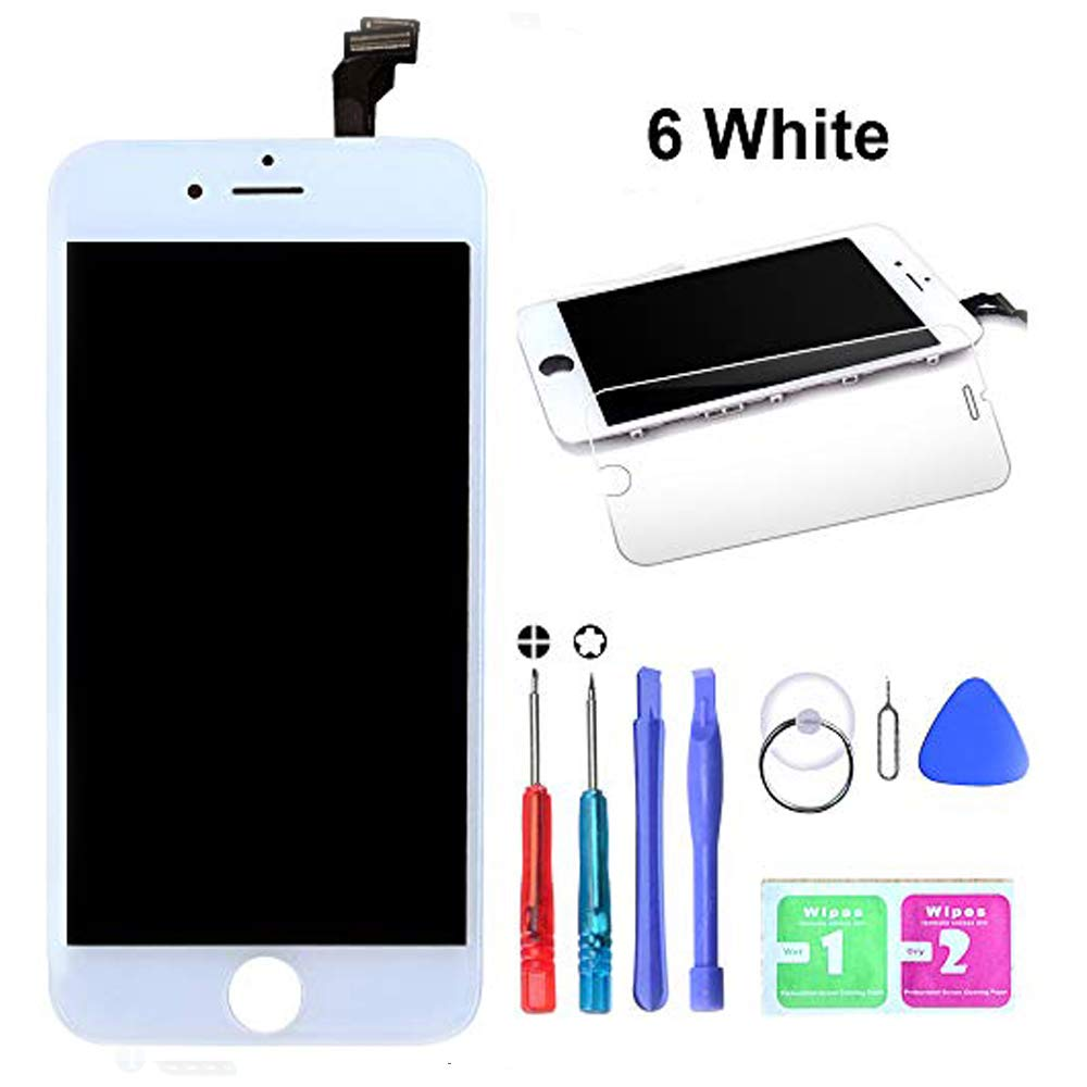HTECHY Compatible with iPhone 6 Screen Replacement White- Compatible for iPhone 6 Digitizer LCD Touch Screen Display Assembly with Complete Repair Tools Kit Including Screen Protector(4.7 Inch) by HTECHY (Image #1)